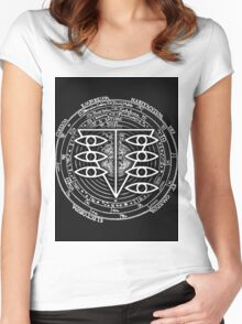 Seele Black Fancy Mandala Evangelion Logo Graphic Women's Fitted Scoop T-Shirt