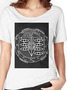 Seele Black Fancy Mandala Evangelion Logo Graphic Women's Relaxed Fit T-Shirt