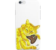 Sleepy Yellow Kitty with Gaming Controller  iPhone Case/Skin