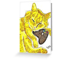 Sleepy Yellow Kitty with Gaming Controller  Greeting Card