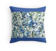 Blue and White Daisies Throw Pillow