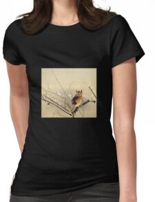 Goun Owl with Early Plum Blossoms Woodblock Print Womens Fitted T-Shirt