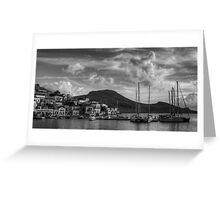 Yachts at the small pier B&W Greeting Card