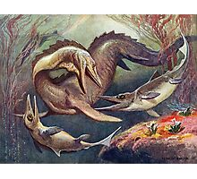 Colorful Vintage Mosasaurus vs. Ichthyosaurs Print Photographic Print