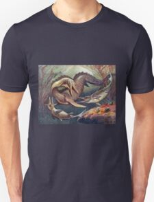 Colorful Vintage Mosasaurus vs. Ichthyosaurs Print T-Shirt