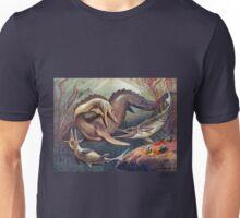 Colorful Vintage Mosasaurus vs. Ichthyosaurs Print Unisex T-Shirt