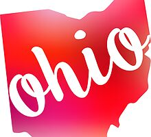 Ohio State Outline Red  by emilystp23