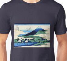 Umegawa in Sagami Province Cranes and Mount Fuji Unisex T-Shirt