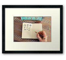 Motivational concept with handwritten THREE QUESTION MARKS Framed Print