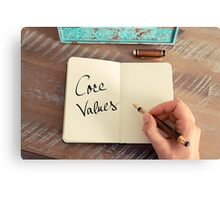 Motivational concept with handwritten text CORE VALUES Canvas Print