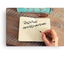 Motivational concept with handwritten text POSITIVE AFFIRMATIONS Canvas Print