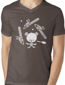 Cute Teddy Juggling 2 Balls, 3 Chainsaws and Club Mens V-Neck T-Shirt