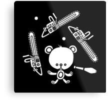 Cute Teddy Juggling 2 Balls, 3 Chainsaws and Club Metal Print