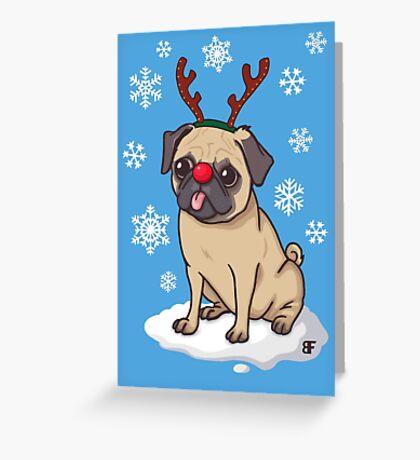 Pug Reindeer  Greeting Card