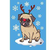 Pug Reindeer  Photographic Print