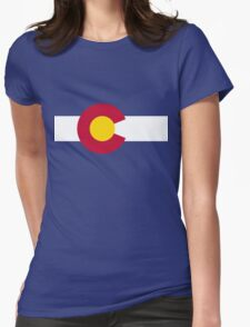 Blue Red and Gold Flag of Colorado Womens Fitted T-Shirt