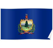 Blue Flag and Coat of Arms of Vermont Poster