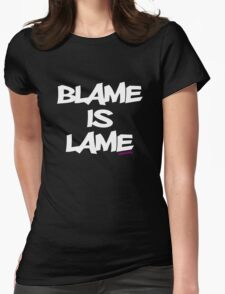 BLAME IS LAME! (white) Womens Fitted T-Shirt