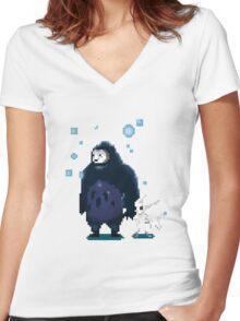 Pixel Ori and Kuro Women's Fitted V-Neck T-Shirt