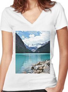 Lake Louise Alberta Women's Fitted V-Neck T-Shirt