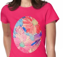 Rainbow Watercolor Flowers Womens Fitted T-Shirt