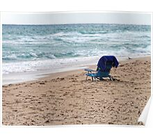 Alone on Beach with Surf, Sand, and Sea. Poster