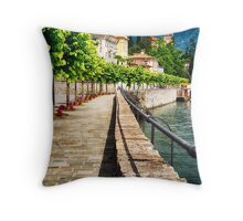 Mulberry Trees  and a Classic Hotel, Tremezzo, Lake Como Throw Pillow