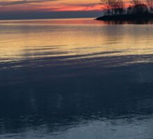 Stripes and Layers - Sunrise on the Lake Shore Sticker