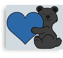 Valentine's Day Black Bear with Blue Heart Canvas Print