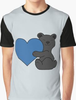 Valentine's Day Black Bear with Blue Heart Graphic T-Shirt
