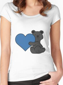 Valentine's Day Black Bear with Blue Heart Women's Fitted Scoop T-Shirt