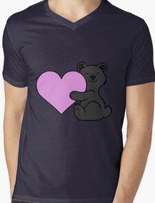 Valentine's Day Black Bear with Light Pink Heart Mens V-Neck T-Shirt