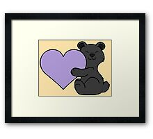 Valentine's Day Black Bear with Light Purple Heart Framed Print