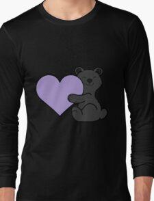 Valentine's Day Black Bear with Light Purple Heart Long Sleeve T-Shirt