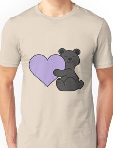 Valentine's Day Black Bear with Light Purple Heart Unisex T-Shirt