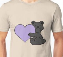 Valentine's Day Black Bear with Light Purple Heart Unisex T-Shirt
