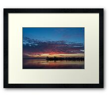 Bright Pink Sunrise With a Tiny Crescent Moon Framed Print