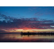 Bright Pink Sunrise With a Tiny Crescent Moon Photographic Print
