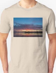 Bright Pink Sunrise With a Tiny Crescent Moon Unisex T-Shirt