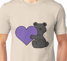 Valentine's Day Black Bear with Purple Heart Unisex T-Shirt