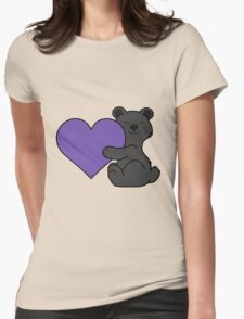 Valentine's Day Black Bear with Purple Heart Womens Fitted T-Shirt
