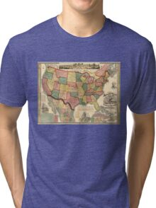 Centennial American Republic And Railroad Map of the United States and of the Dominion of Canada - 1875 Tri-blend T-Shirt