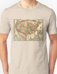 Centennial American Republic And Railroad Map of the United States and of the Dominion of Canada - 1875 Unisex T-Shirt