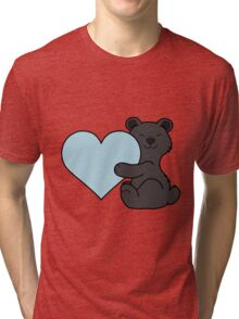 Valentine's Day Black Bear with Light Blue Heart Tri-blend T-Shirt