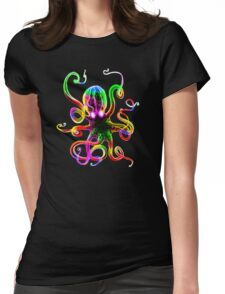 Rainbow Octopus Glow Womens Fitted T-Shirt