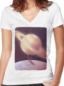 A View From Enceladus Women's Fitted V-Neck T-Shirt