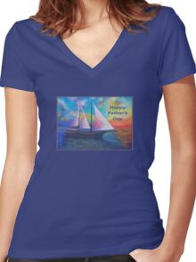 Happy Father's Day (Bodrum Gulet Cruise) Women's Fitted V-Neck T-Shirt