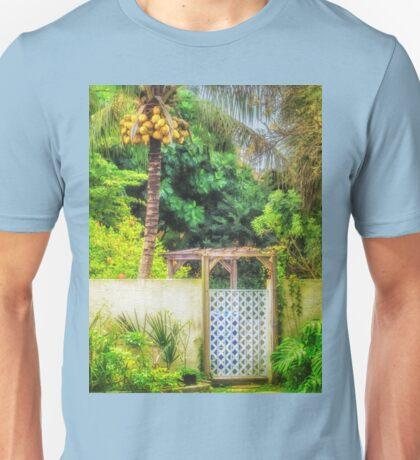 Coconut palm tropical gateway Unisex T-Shirt