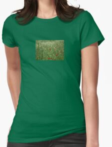 Seed Head With A Beautiful Blur of Poppies Background  Womens Fitted T-Shirt