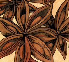 Art nouveau. Cinnamon and anise. Sticker